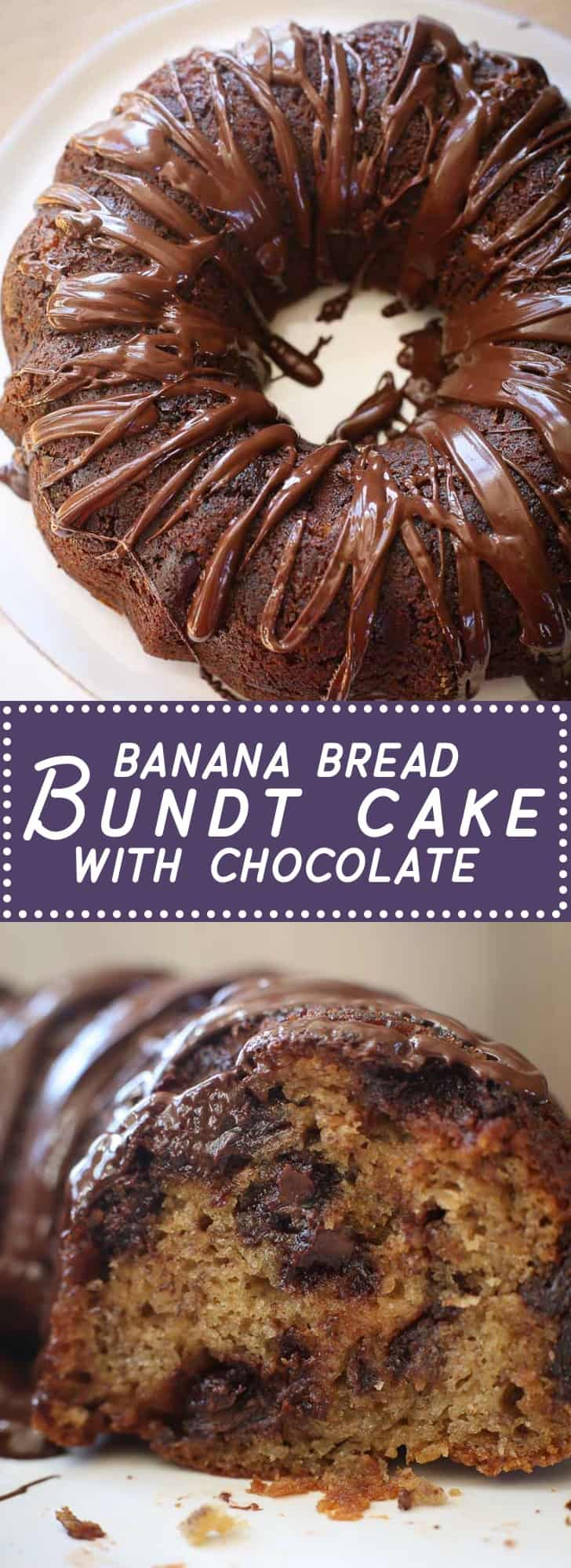 With rich, tender banana bread (and chocolate for good measure), this easy banana bread bundt cake is a crowd pleaser. It's delicious and includes bananas. Therefore… healthy :-)