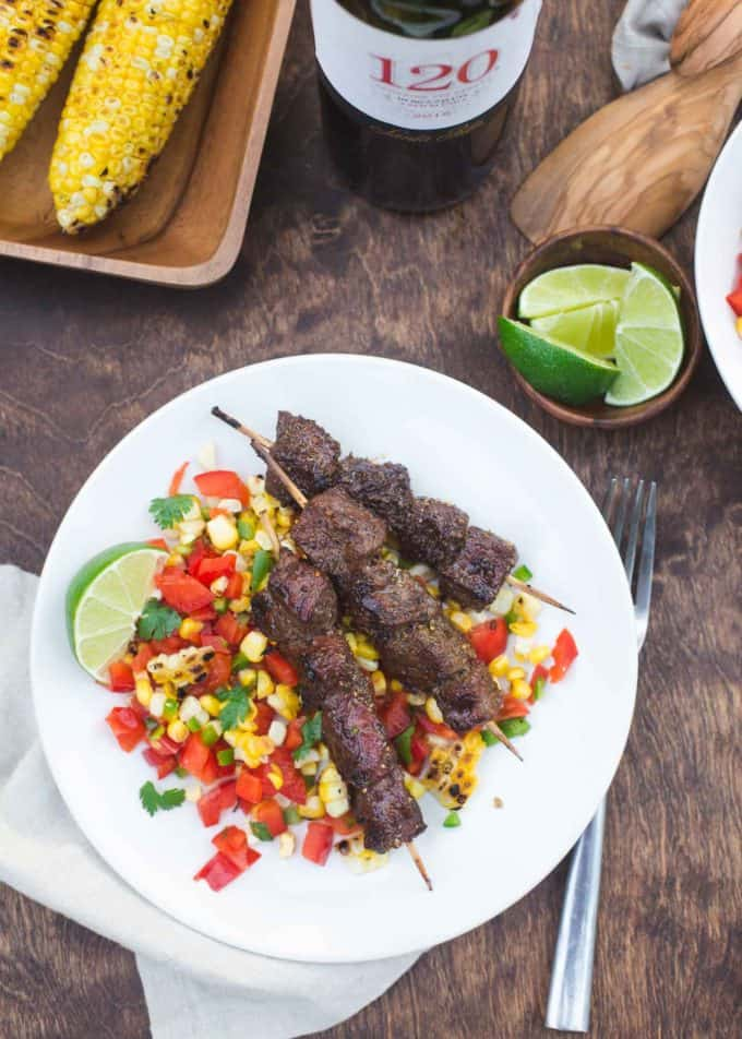 Chili Lime Glazed Beef Skewers with Charred Corn Salsa