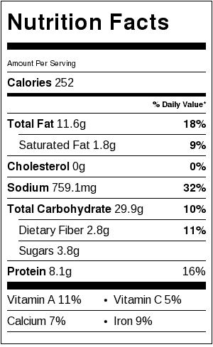 Sesame Peanut Noodles_Nutrition Label