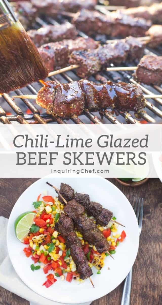 chili-lime glazed beef skewers