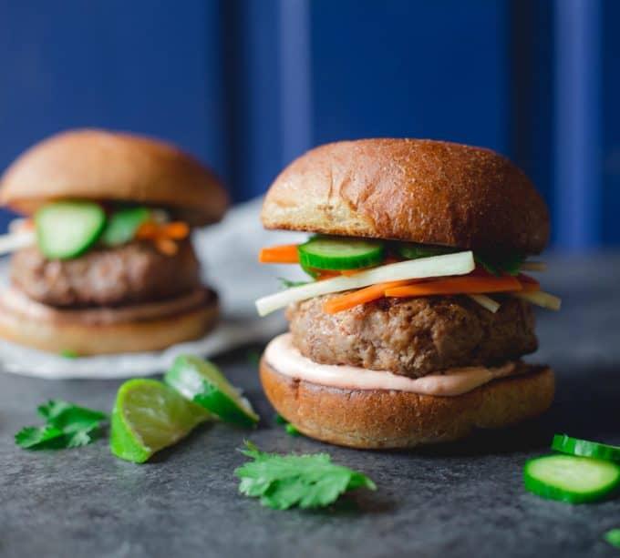 burgers on a grey countertop