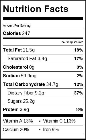 Mango Chia Breakfast Bowls Nutrition Label
