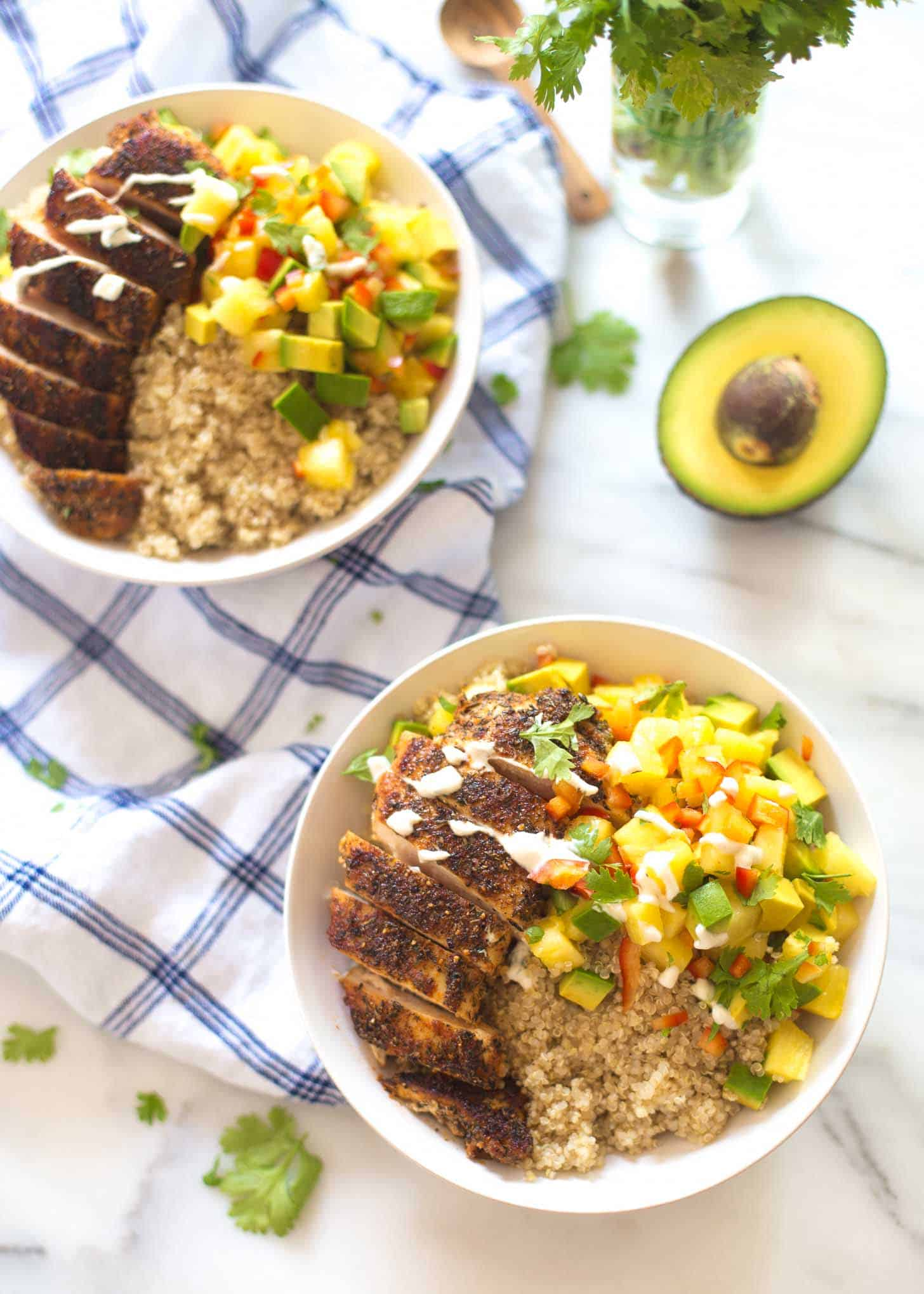 Caribbean Chicken and Quinoa Bowls on a white countertop