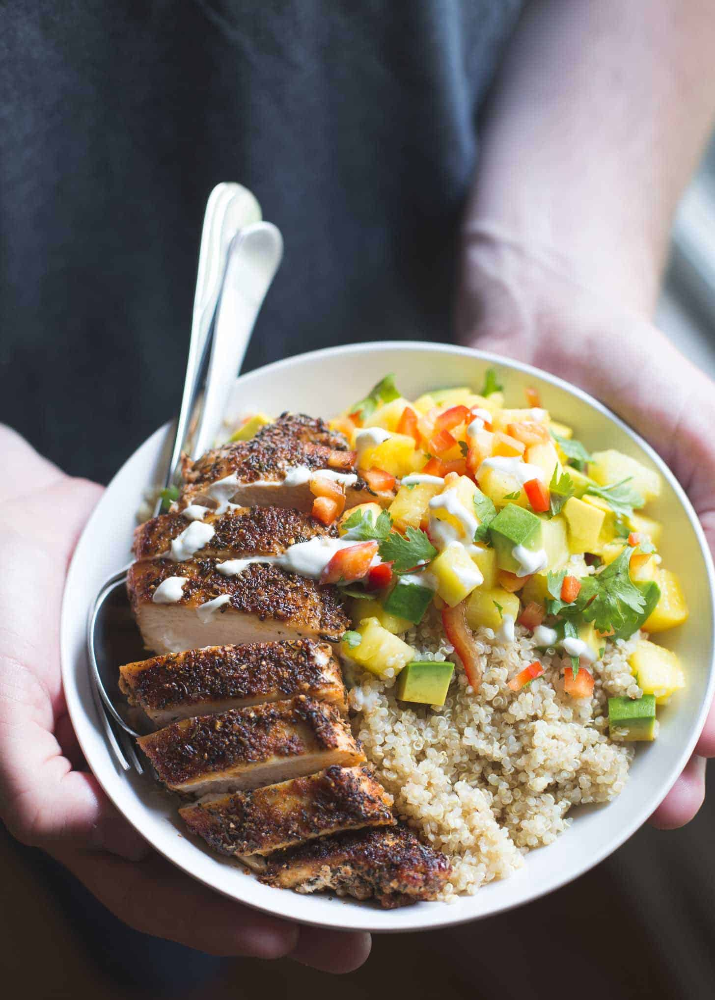 Caribbean Chicken and Quinoa in a white bowl