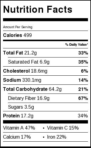 Sweet Potato Tacos_Nutrition Label