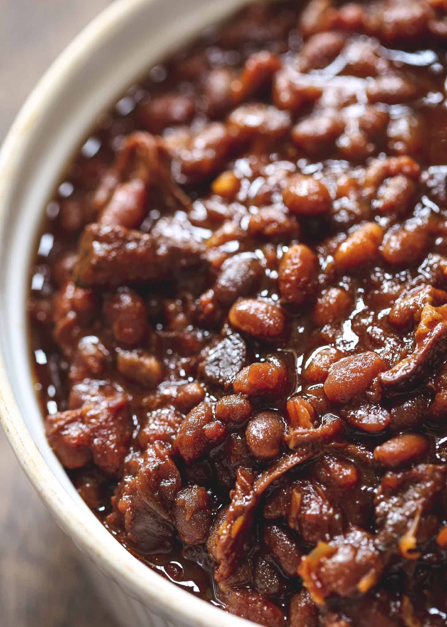 Baked Beans in a white bowl