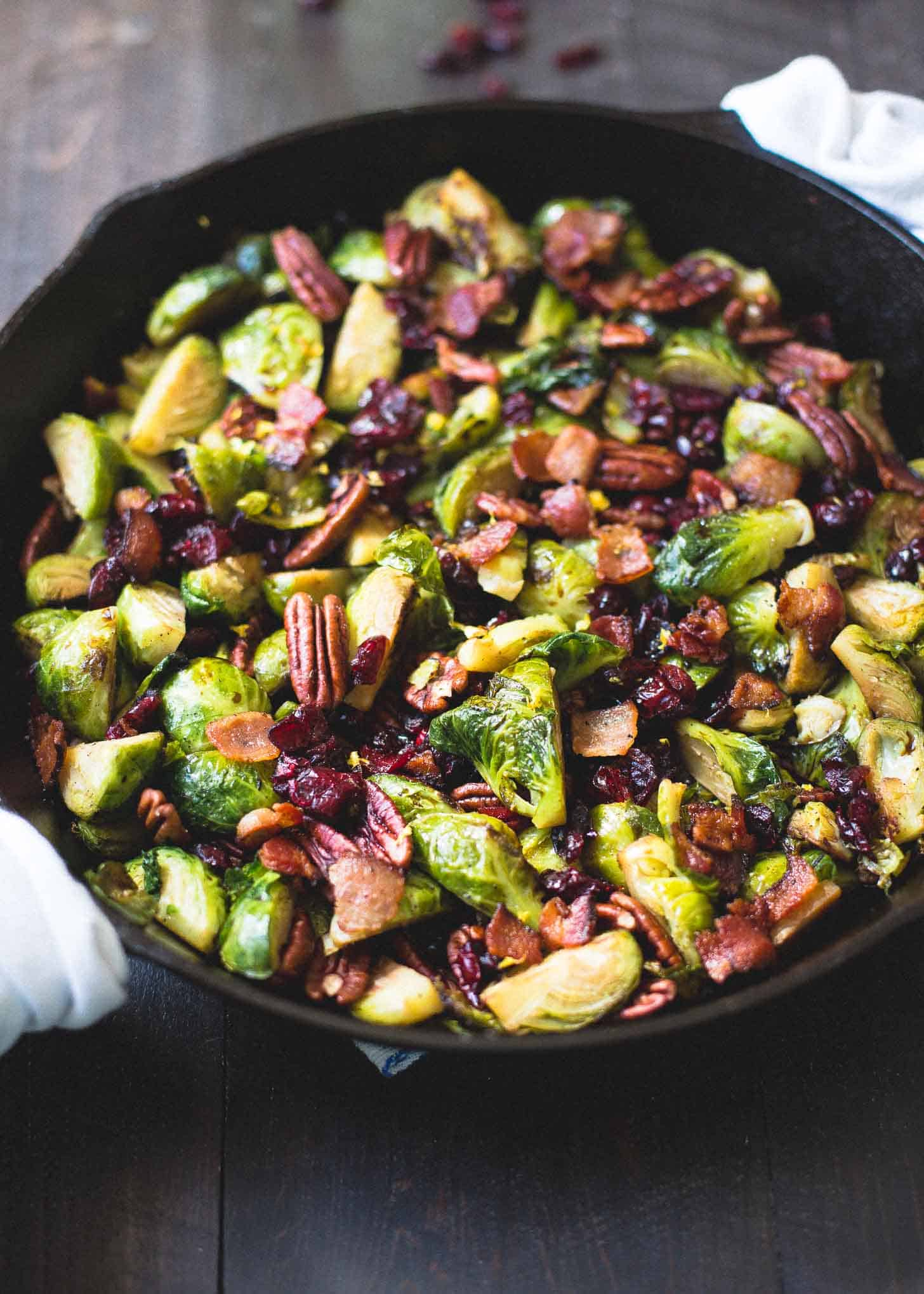 Balsamic Brussels Sprouts With Bacon Dried Cranberries And
