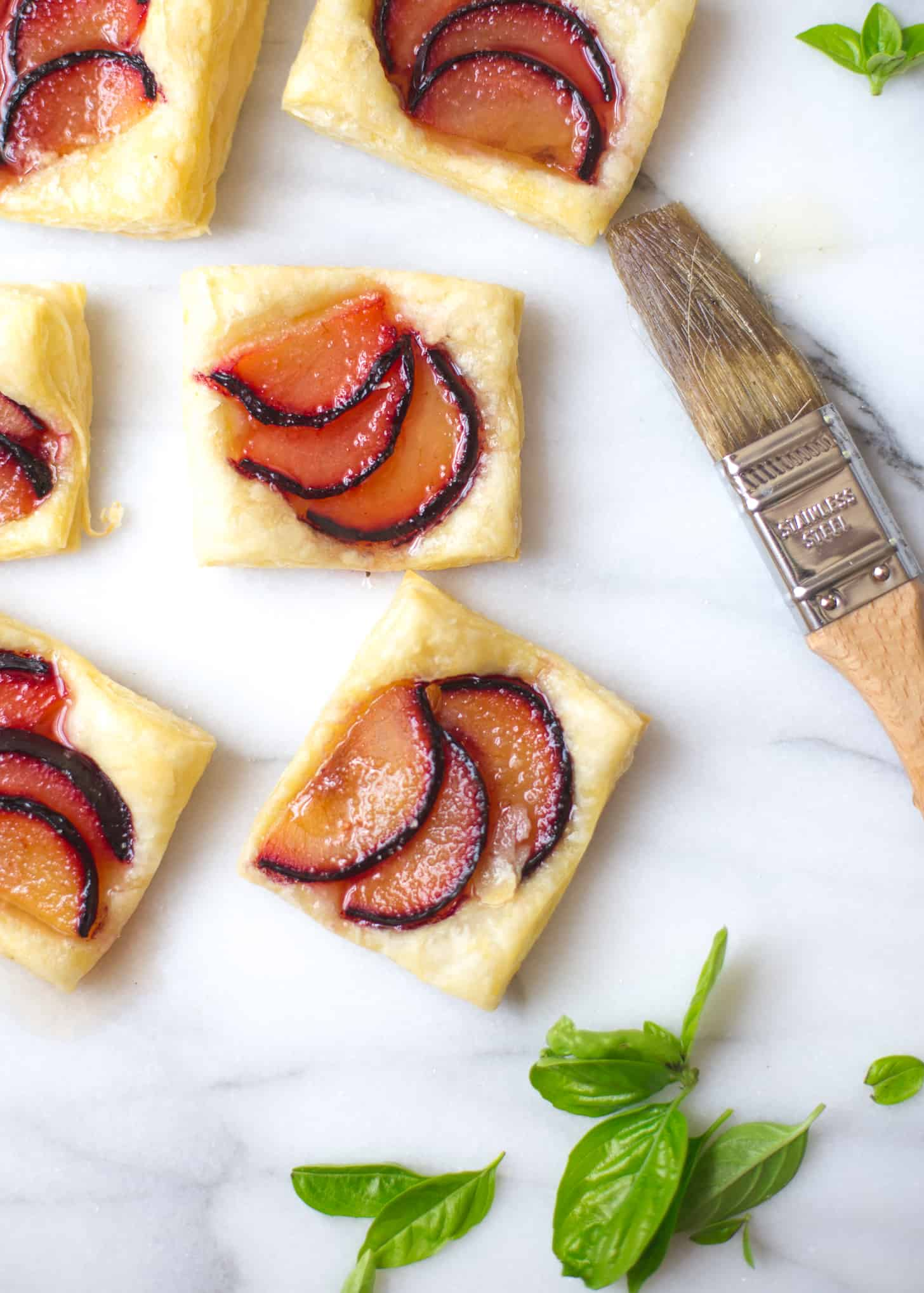 Plum Tarts with Sweet Basil Honey