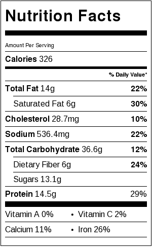 Slow Cooker Brown Sugar Baked Beans_Nutrition Label