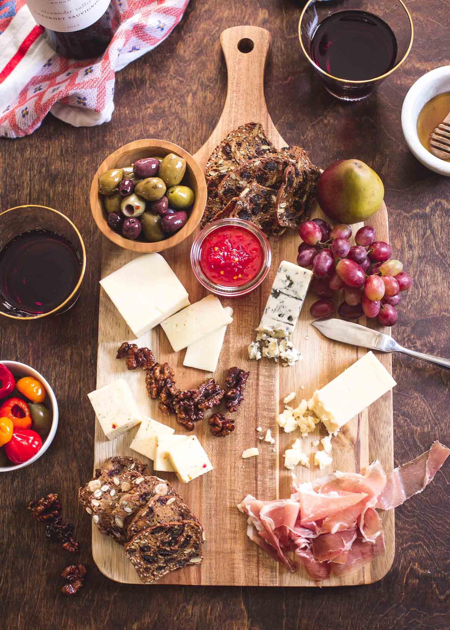 Fall Harvest Cheese Board on a wooden table