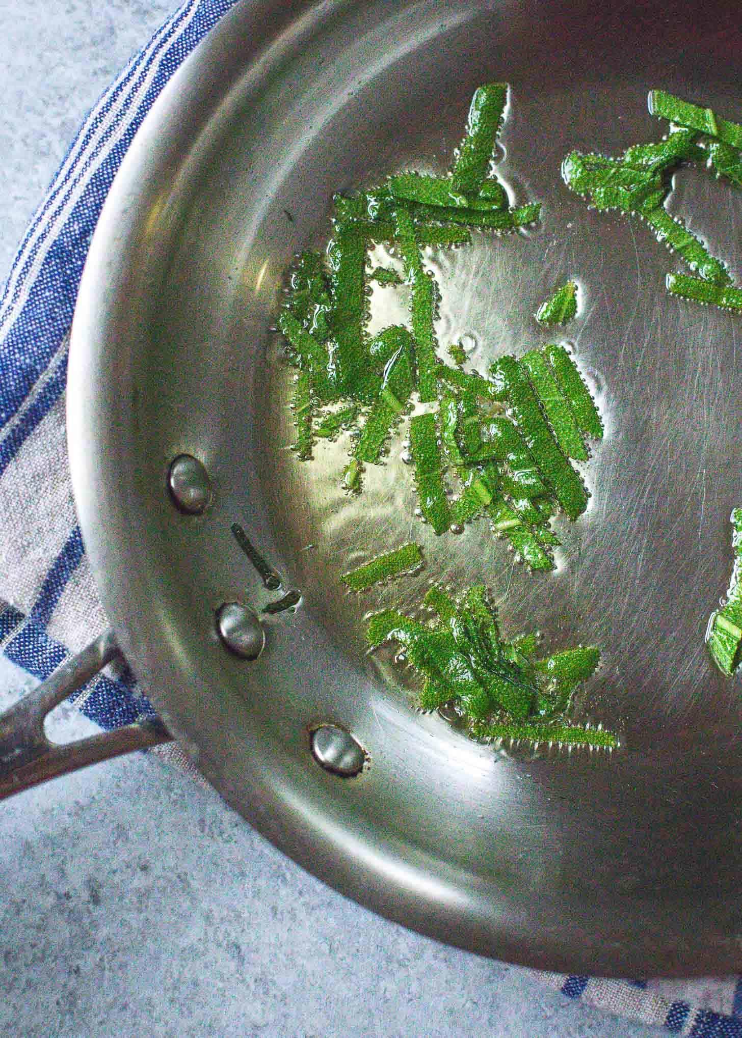 making crispy sage in a skillet