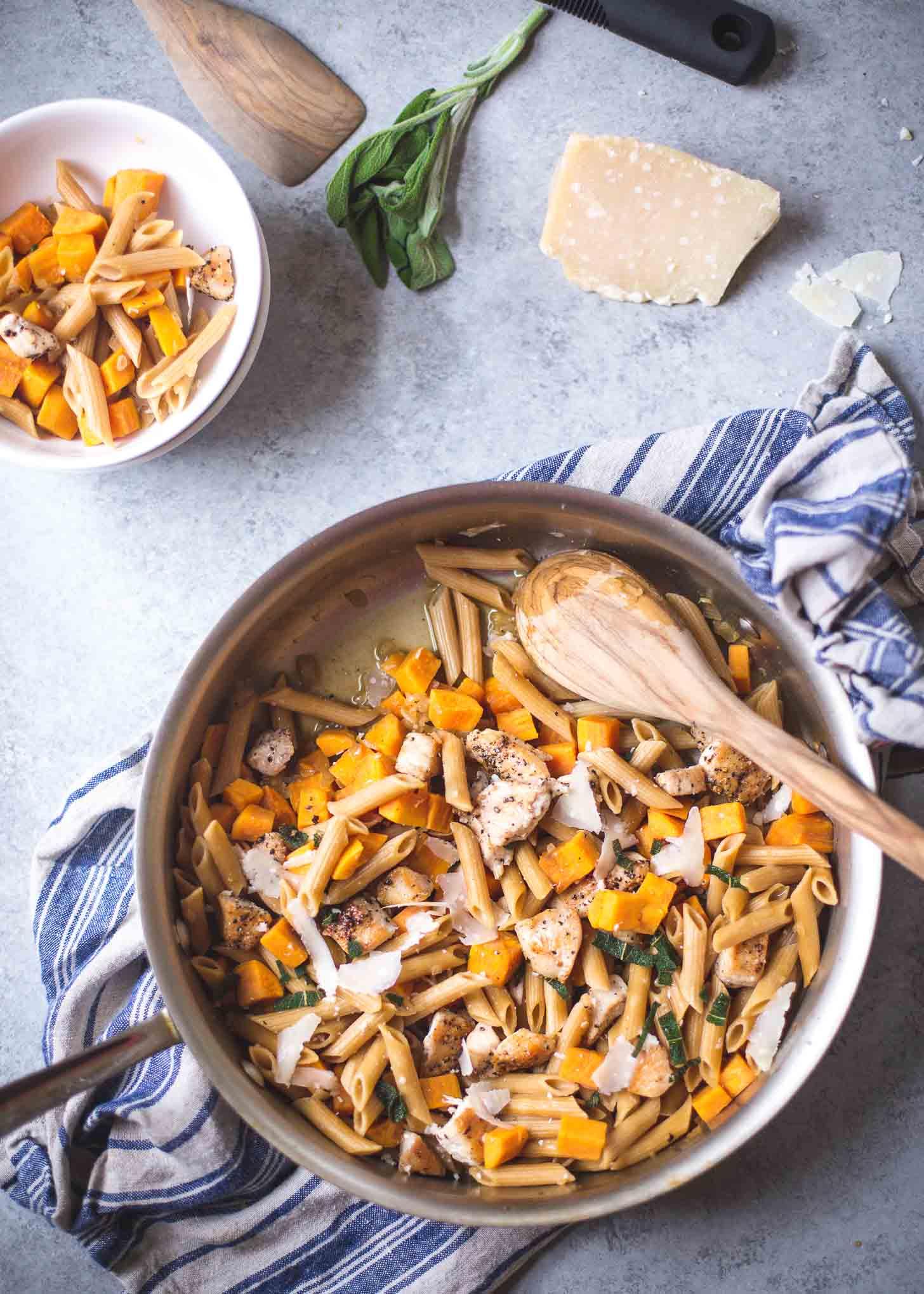 Skillet Chicken Pasta in a skillet