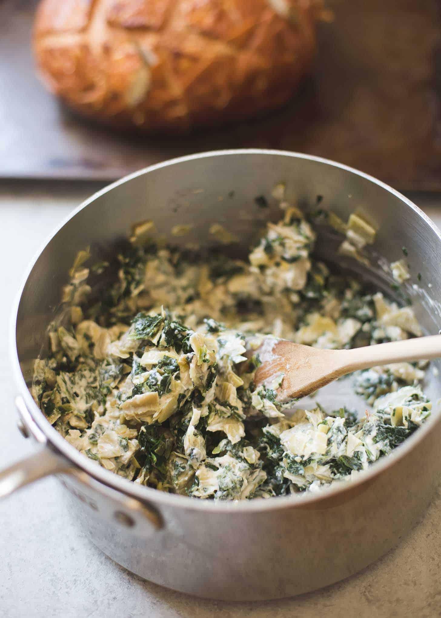 Spinach Artichoke mix in a saucepan