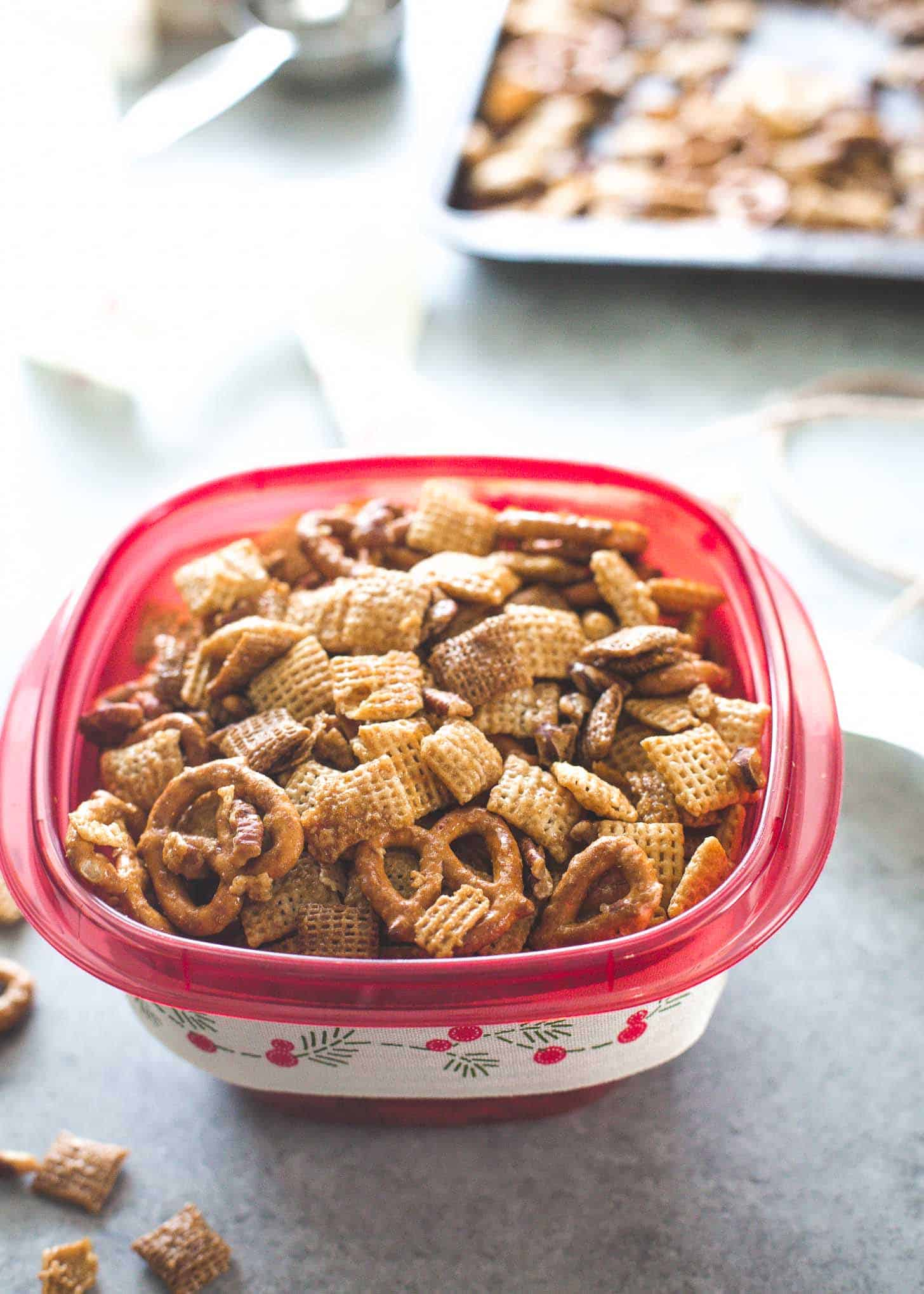 Sweet and Salty Snack Mix in a container