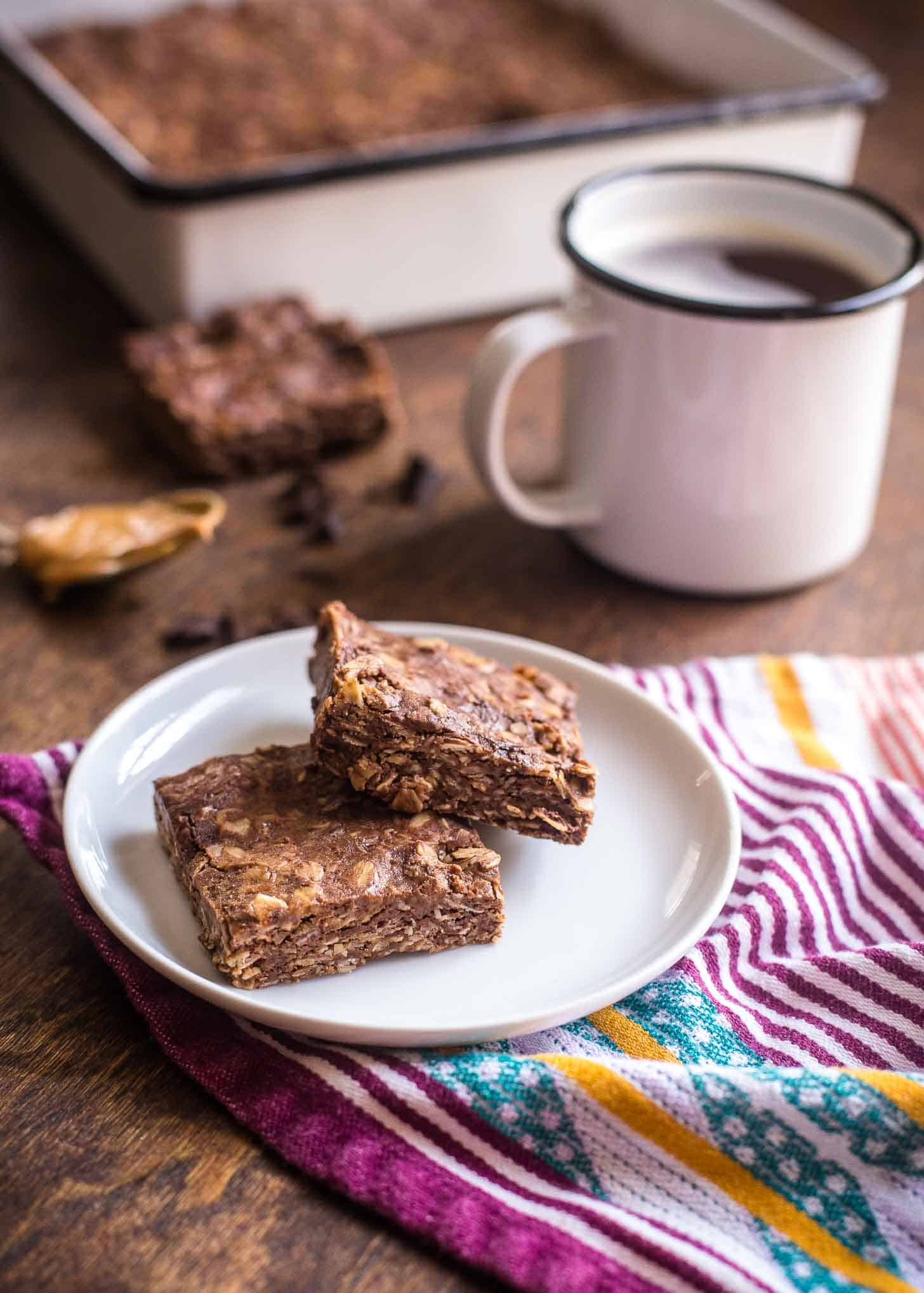 Chocolate Peanut Butter Oat Bars and a cup of coffee