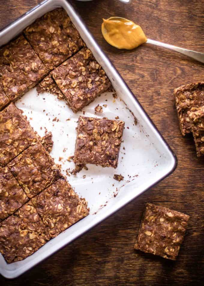Chocolate Peanut Butter Oat Bars in a baking dish