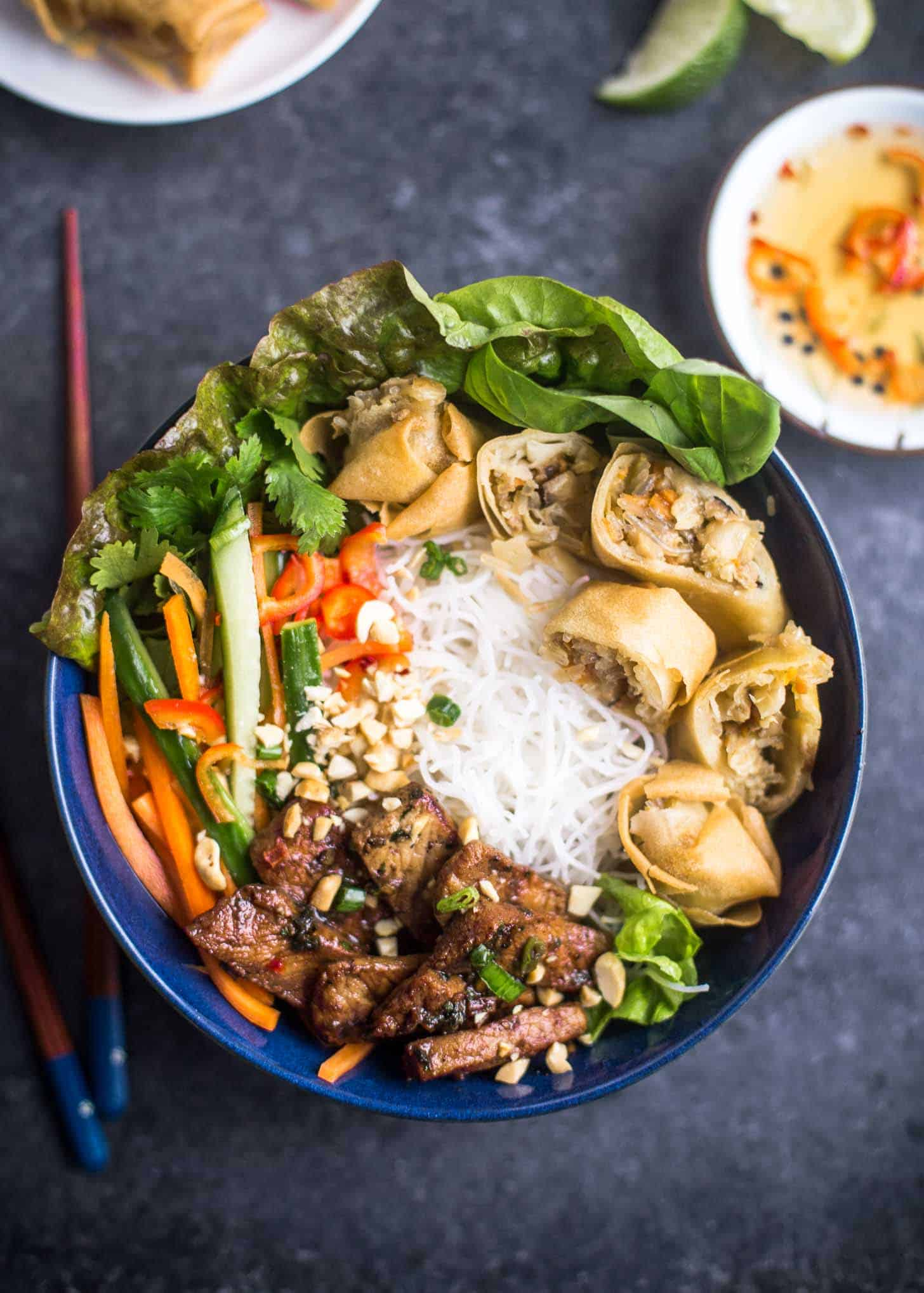 Vietnamese Noodle Bowls (Bun Thit Nuong Cha Gio)