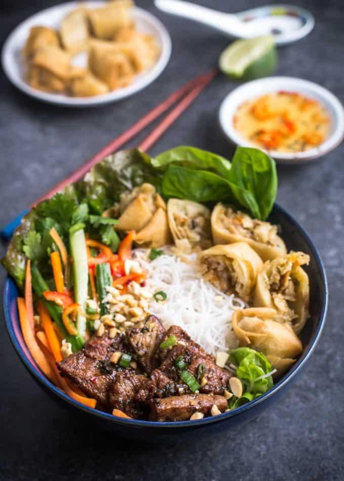 Vietnamese Noodle Bowls in blue bowls
