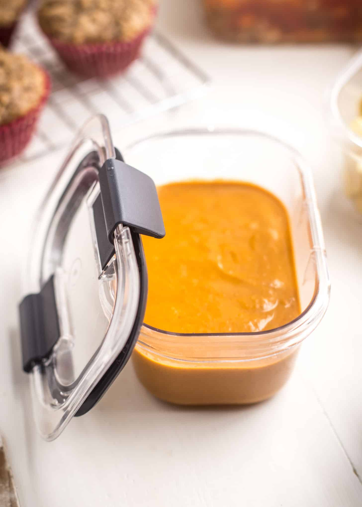 butternut squash soup in a plastic container