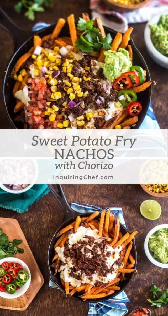 sweet potato fry nachos with chorizo