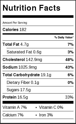 Honey Lime Shrimp_Nutrition Label