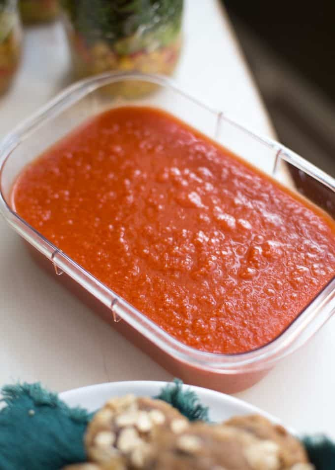 tomato soup in a rectangular container