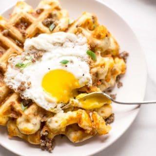 savory waffle with a fried egg