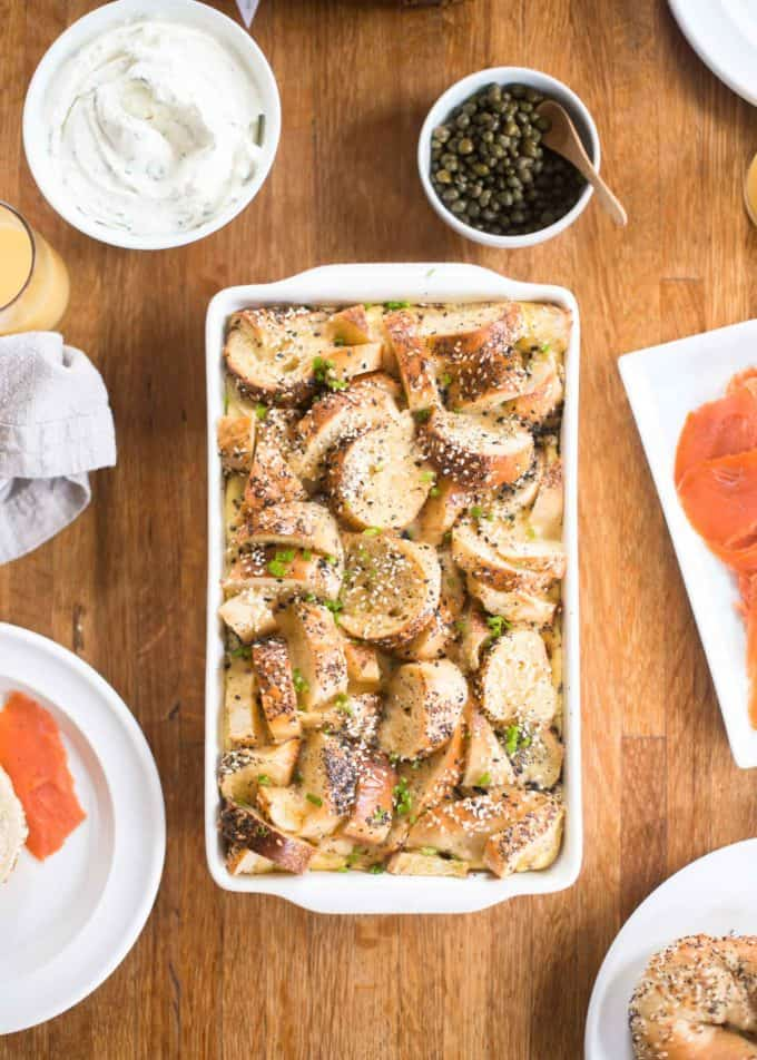 Bagel and Egg Breakfast Bake in a white baking dish