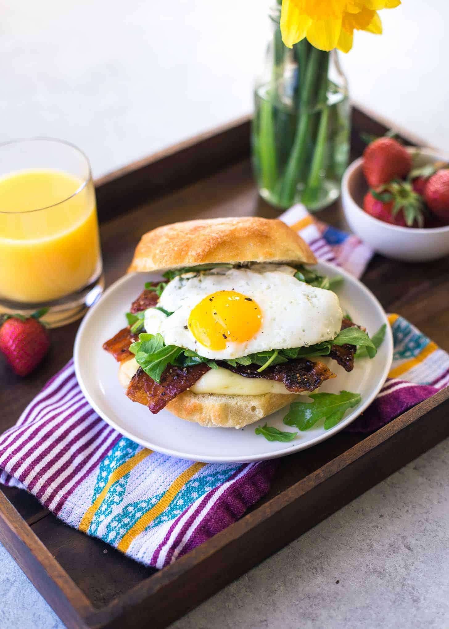 Bacon, Egg, Brie and Arugula Breakfast Sandwich