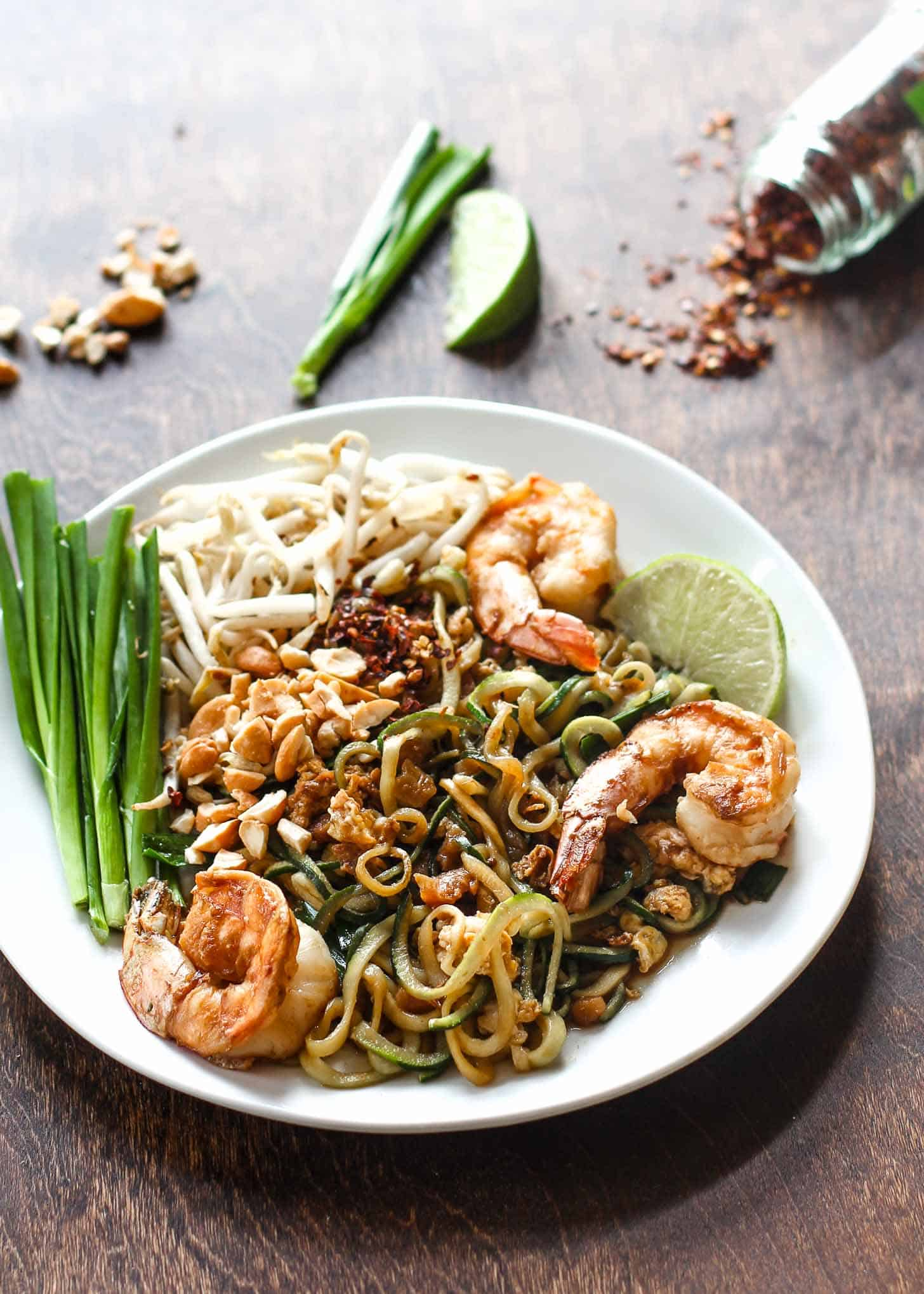 Paleo Pad Thai with Zoodles on a white plate