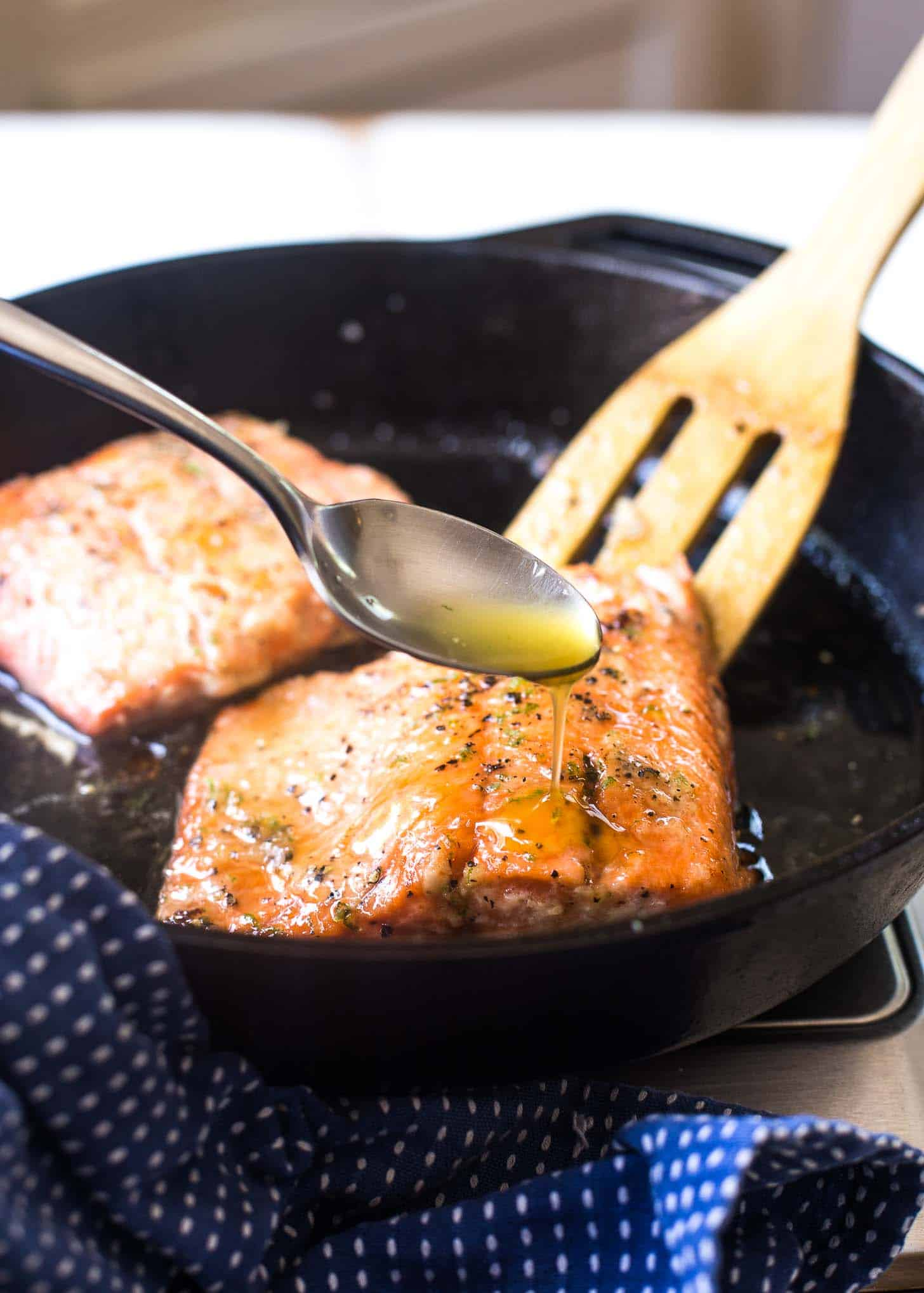 Honey Lime Salmon in a cast iron skillet