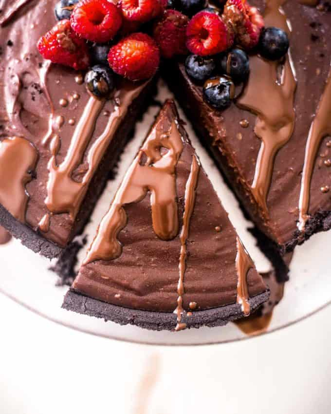 a slice of No Bake Double Chocolate Pie