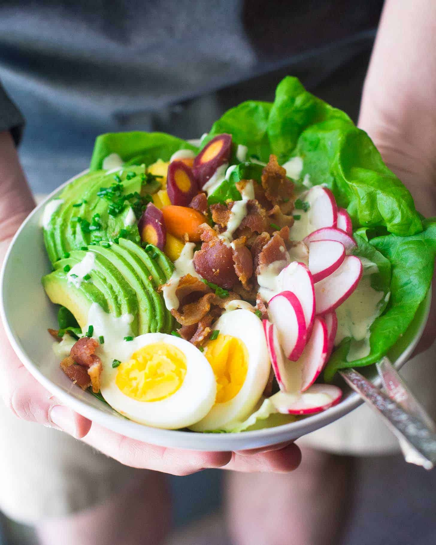 Spring Cobb Salad in a white bowl