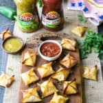Baked Cheesy Chicken Wontons with red and green salsa