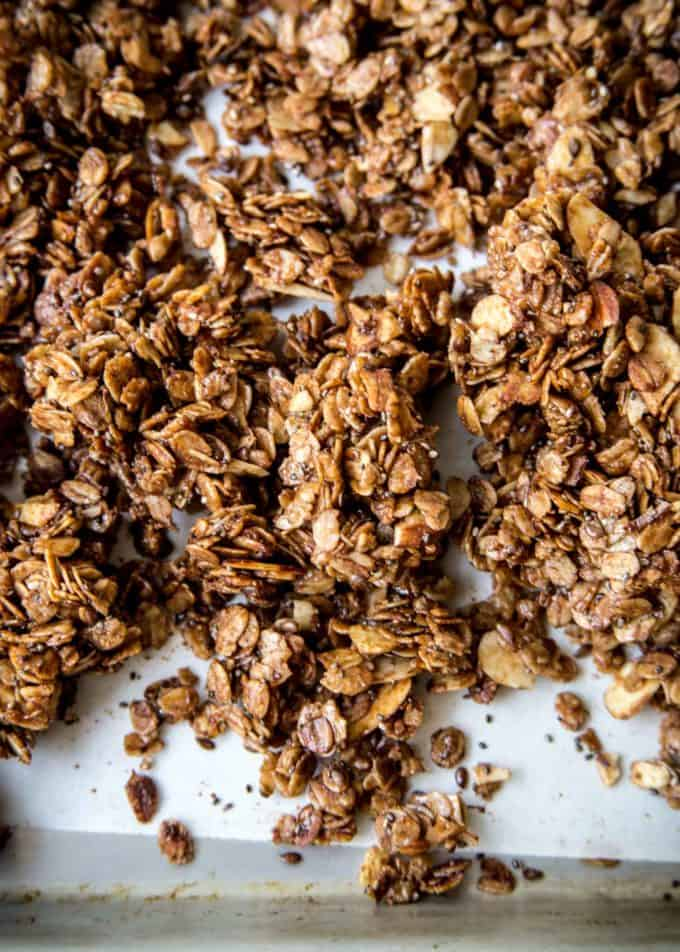 Nutella Granola on a parchment lined sheet pan