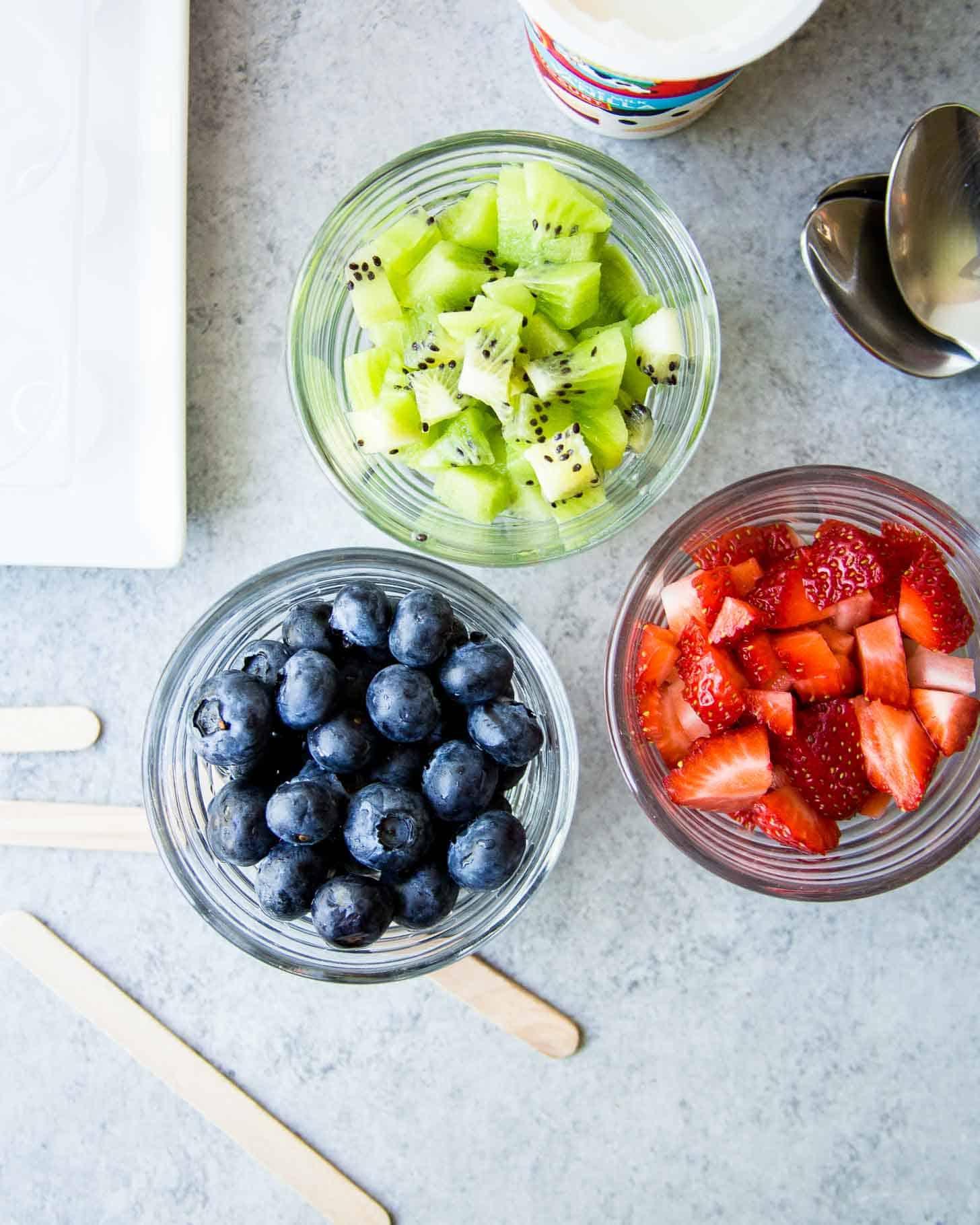 fresh fruit in clear bowls