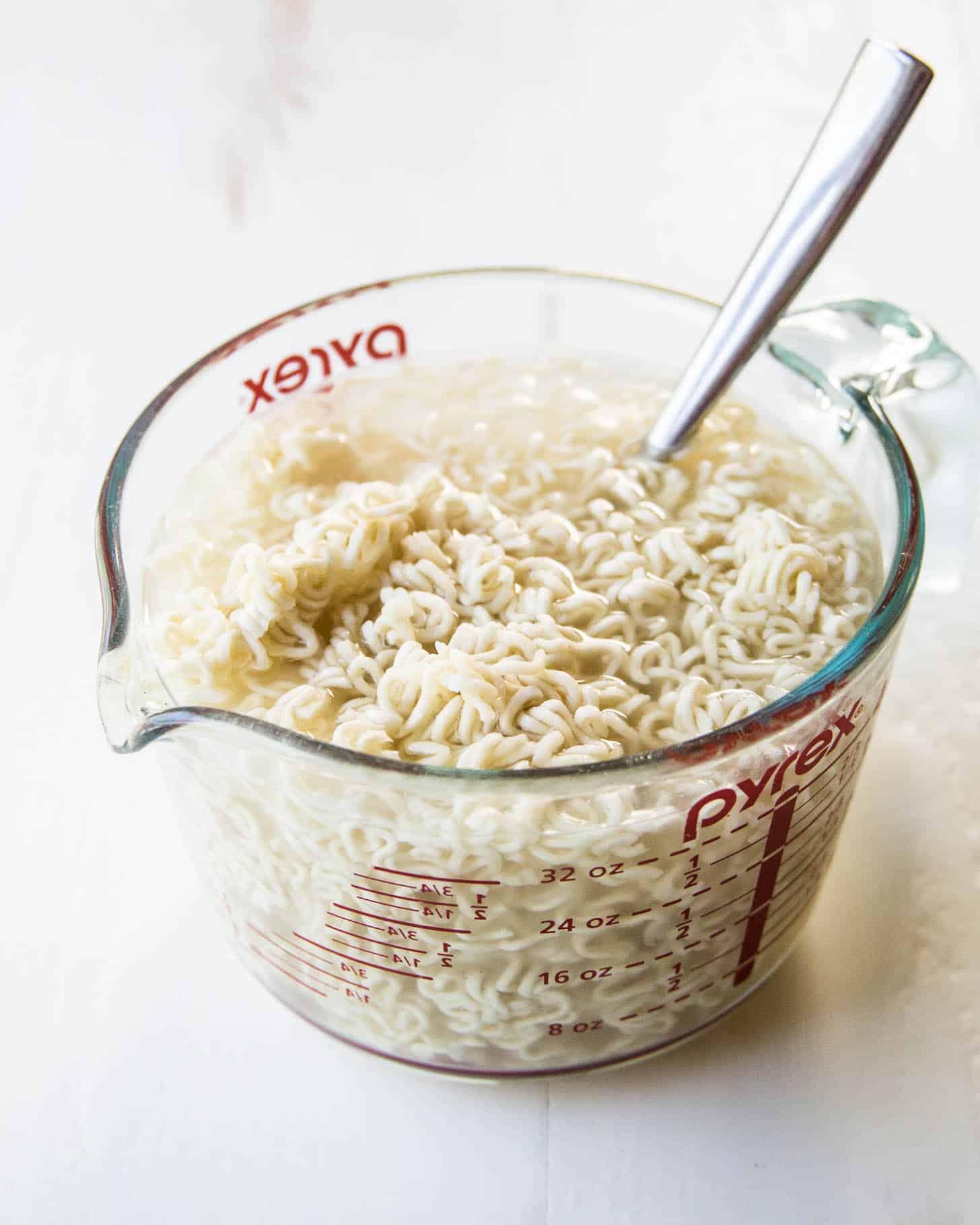 Noodle prep for Thai Chicken Peanut Noodles