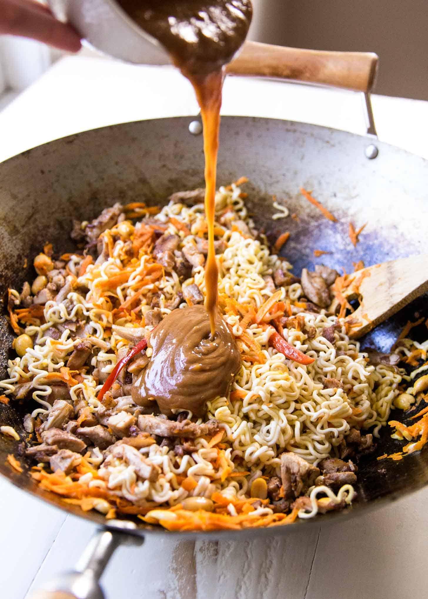 Making Thai Chicken Peanut Noodles