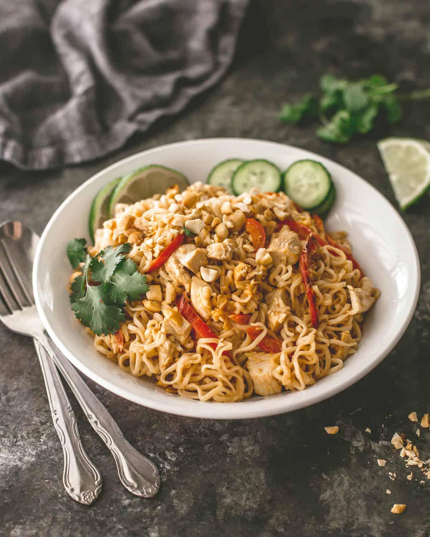 thai noodles in a white bowl