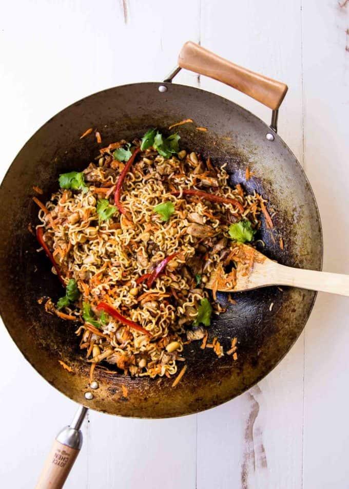 Thai Chicken Peanut Noodles in a wok