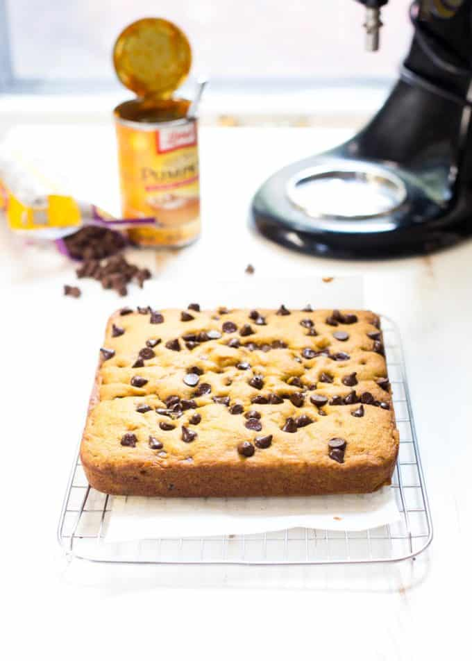 pumpkin chocolate chip snack cake on a wire rack