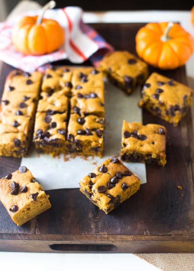 Pumpkin Chocolate Chip Snack Cake on a wooden table
