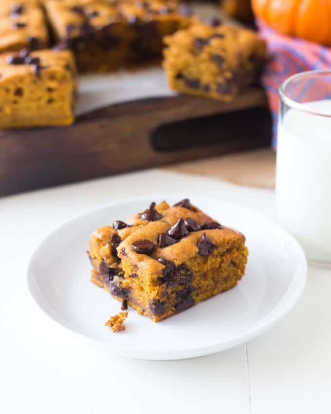 Pumpkin Chocolate Chip Snack Cake on a white plate