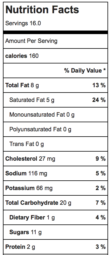 Pumpkin Chocolate Chip Snack Cake_Nutrition Information