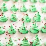 Christmas Tree Meringues on a sheet pan