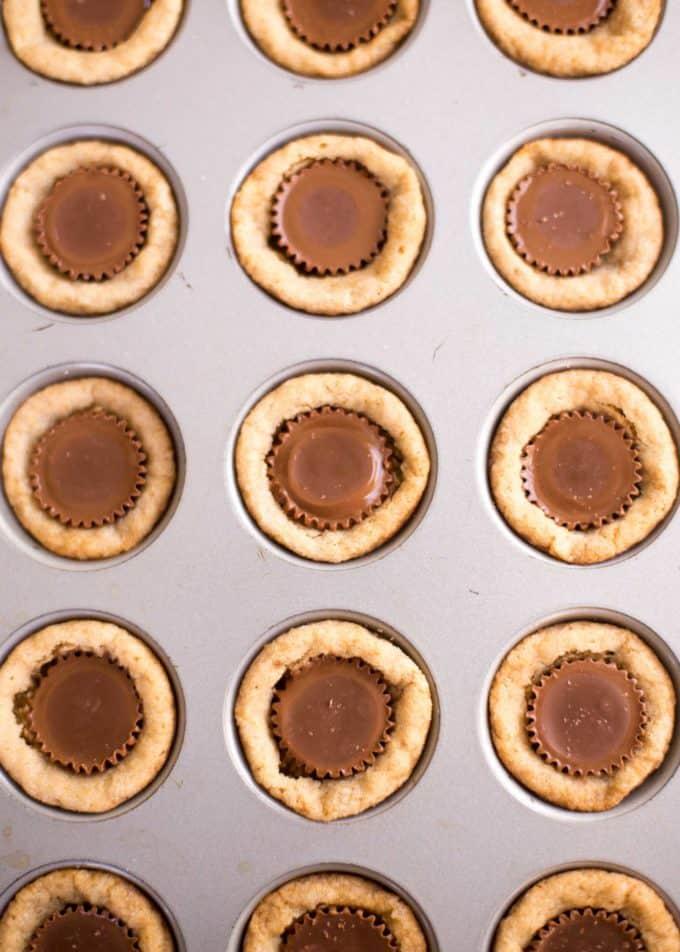 Peanut Butter Cookie Cups in a mini muffin tin