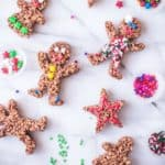 Chocolate Rice Krispies Gingerbread Men on a white table
