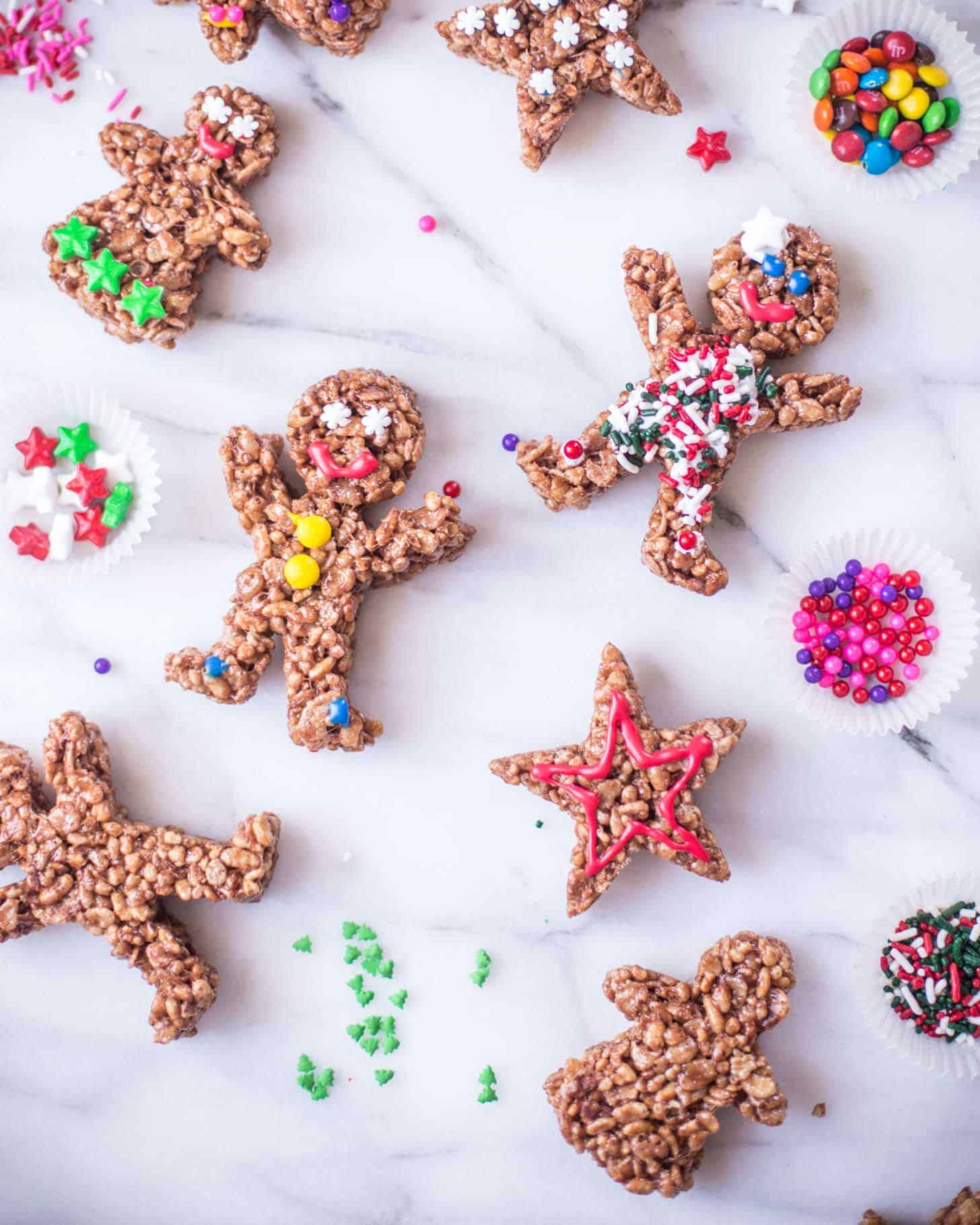 Chocolate Rice Krispies Gingerbread Men on a white countertop