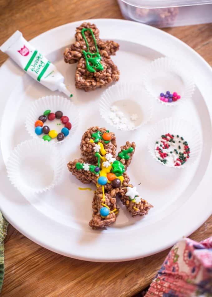 decorating Chocolate Rice Krispies Gingerbread Men
