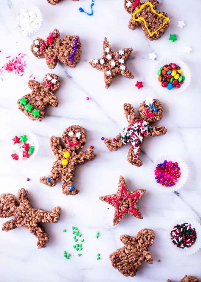Chocolate Rice Krispie Treat Gingerbread Men on a white table